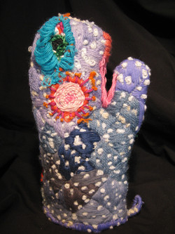 """""""Embroidered Oven Mitt: (back)"""""""