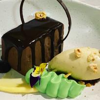 Chocolate custard, avocado cream, halzelnut ice-cream