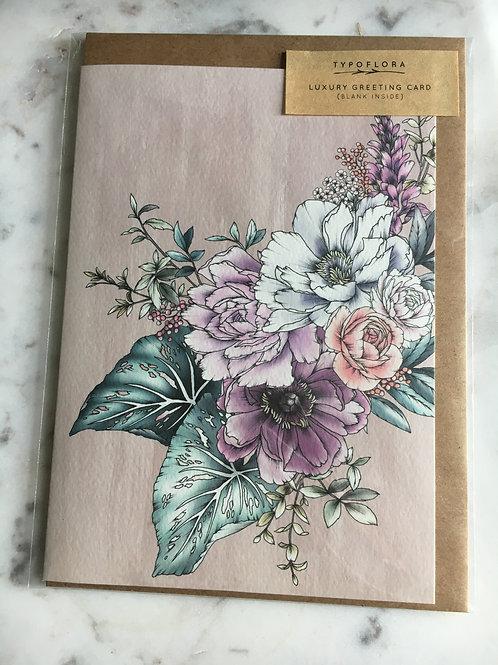 Plum Peonies Notecard by Typo Flora