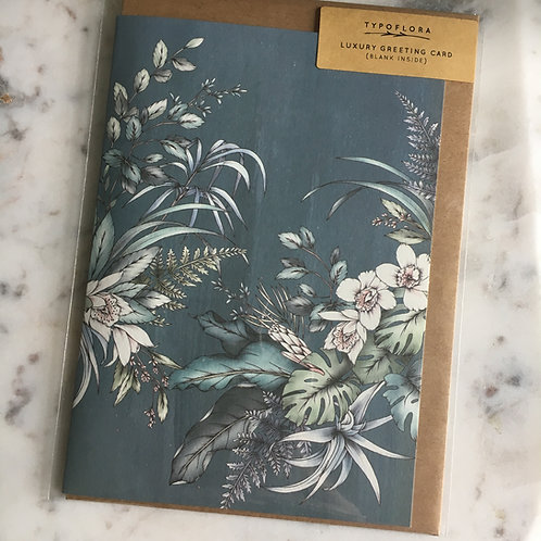 Teal Floral Notecard by Typo Flora