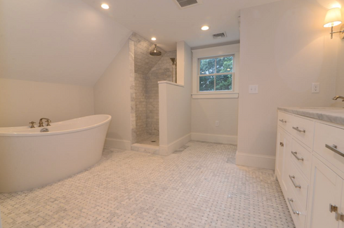 soaker tub bathroom
