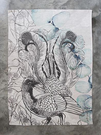 Lyrebird teatowel - oatmeal.jpg
