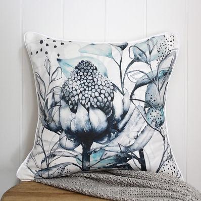 Waratah blue cushion - white.jpg
