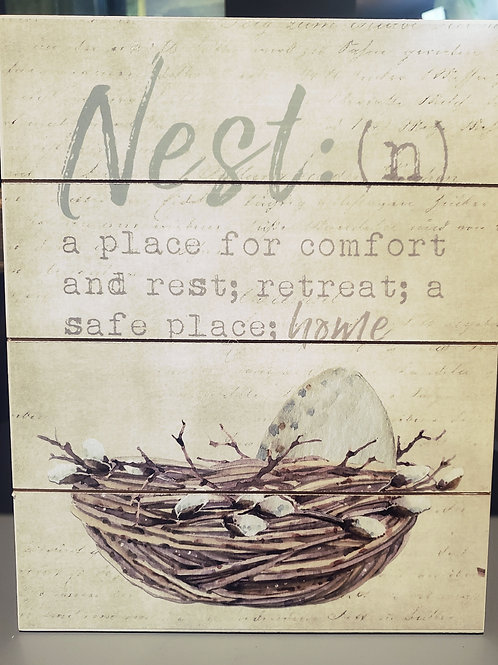"Nest Definition Wood Wall Art - 9 1/2"" x 12"""