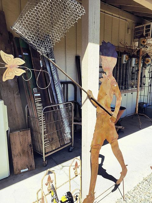 """69"""" Boy W/ Butterfly Net Garden Stake"""