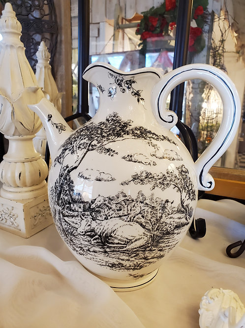 "Pretty Toile Pitcher - approx 10 1/2"" tall x 10"" wide"