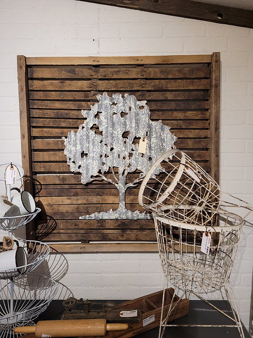 Metal Tree on Vintage Drying Tray