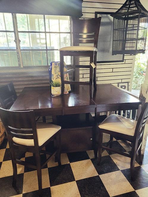 Pub Table W/ Storage and 4 Stools