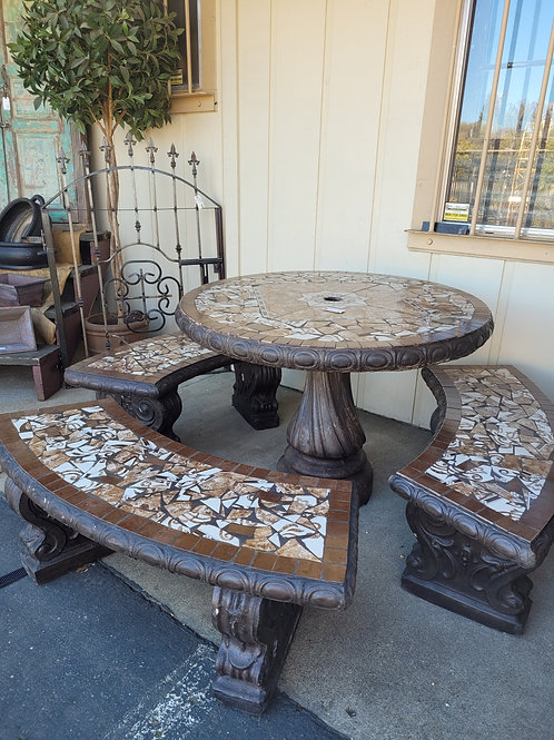 Mosiac Top Cement Table Set - Table & 3 Benches