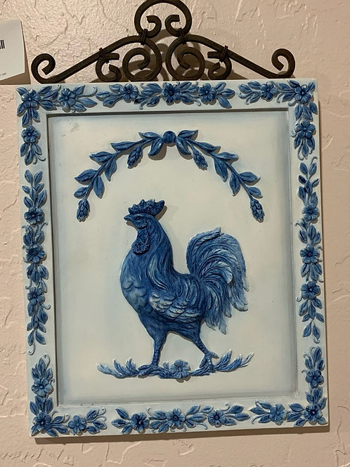 "Blue Rooster Wall Art 12"" H x 8 1/2"" W"