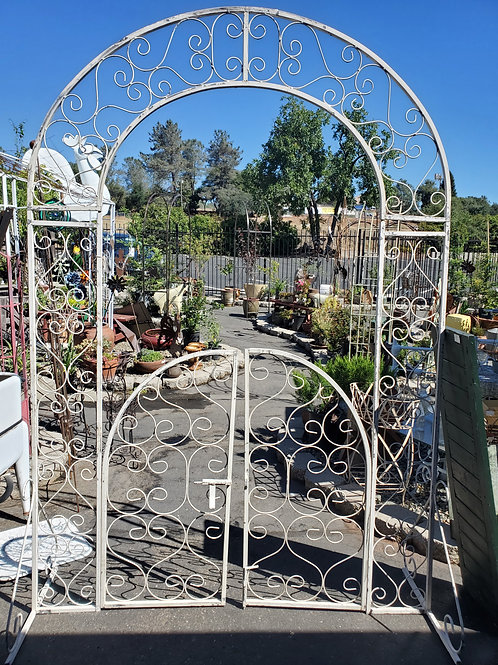 Tall Rounded Arbor w/ Gate - Also available in natural metal!