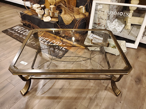Aged Brass Metal & Glass Top Coffee Table