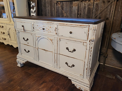 Dark Stained Top Ornate Sideboard/Buffet
