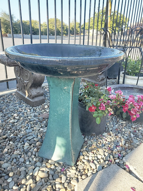 """Glazed Birdbath - 20.9"""" tall x 18.5"""" round bowl"""