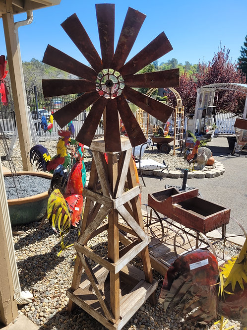 6' Windmill on Wooden Stand