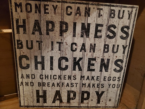 """""""Buy Chickens"""" Box Sign - 10"""" Square"""