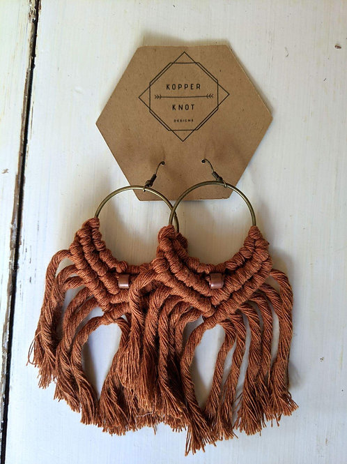 Macrame dangle earrings - Terracotta