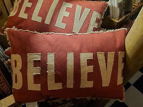 'Believe' Christmas Pillow