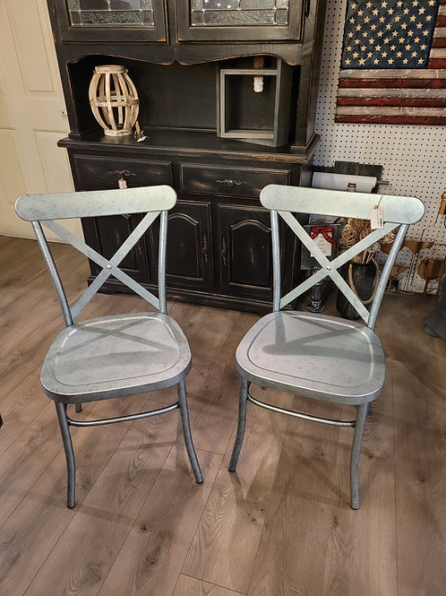 Set of 2 Metal Dining Chairs