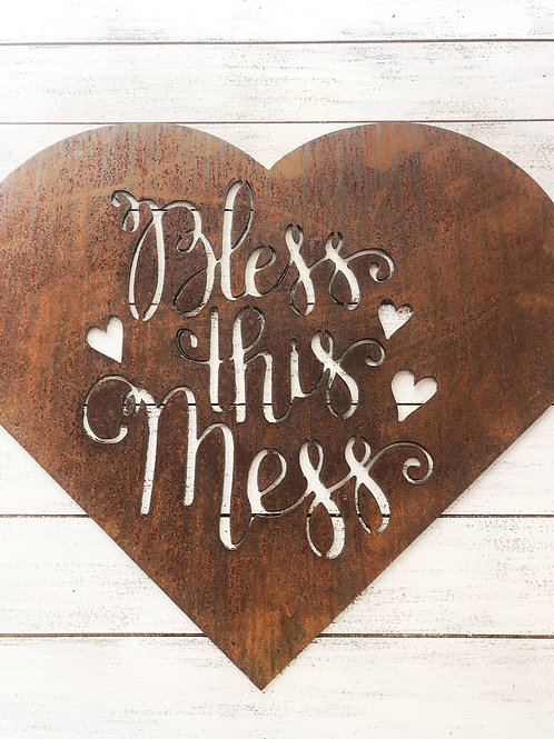 """18"""" 'Bless This Mess' Sign - Made in USA!"""