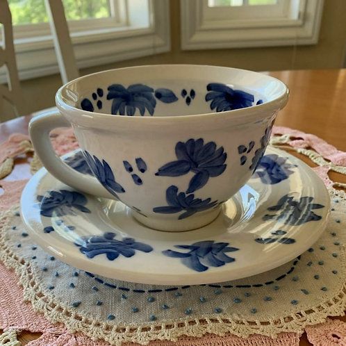 """Blue & White large cup & saucer! Cup 5""""D, saucer 8""""D."""