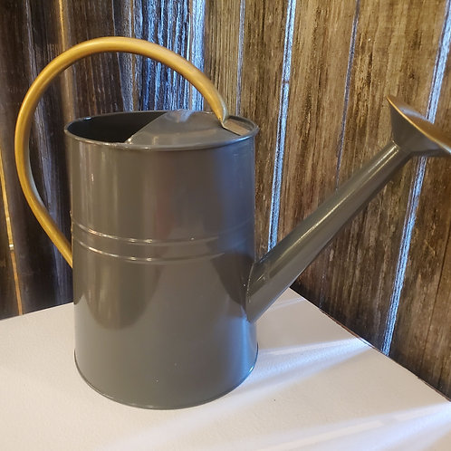 "Grey & Gold Watercan - 8 1/2"" to top of can x 15"" wide"
