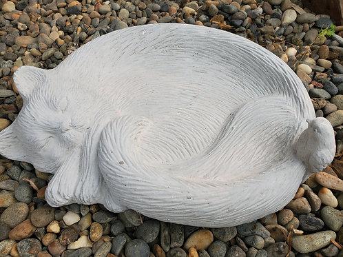 "Sleeping Cat Birdbath/Feeder - 14"" wide"