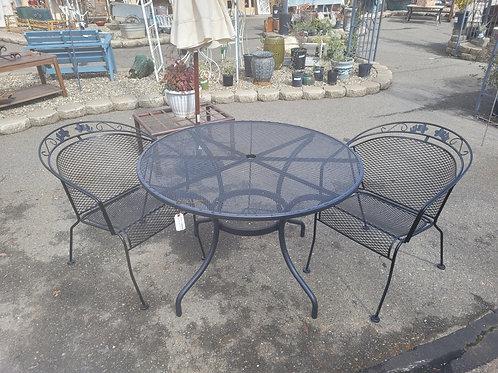 Black Mesh Table w/ 2 Chairs