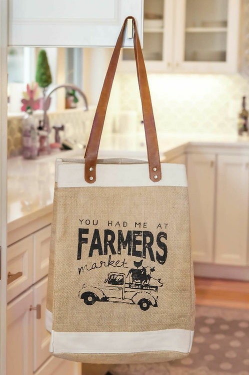 'You Had Me At Farmers Market' Burlap Bag