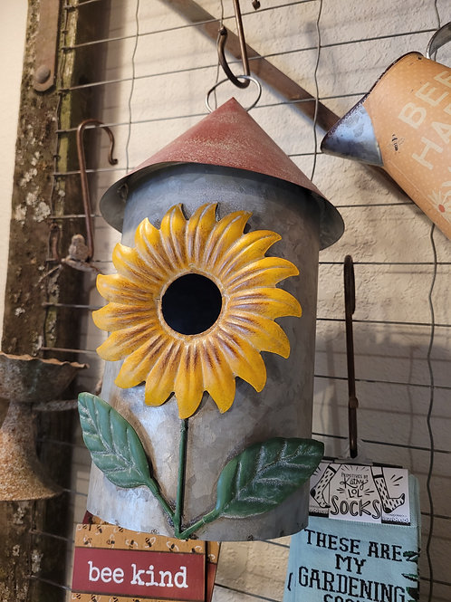 Sunflower Red Roof Birdhouse