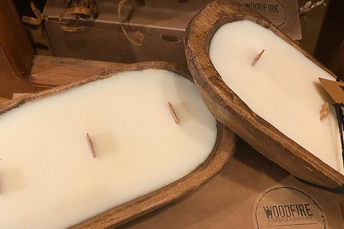 Woodfire Soy Candle in Wooden Bowl - Lavender Lemon