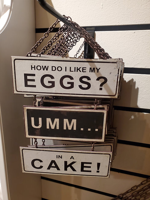 """Tin """"eggs"""" sign 9"""" total height w/chain x 6"""" wide"""