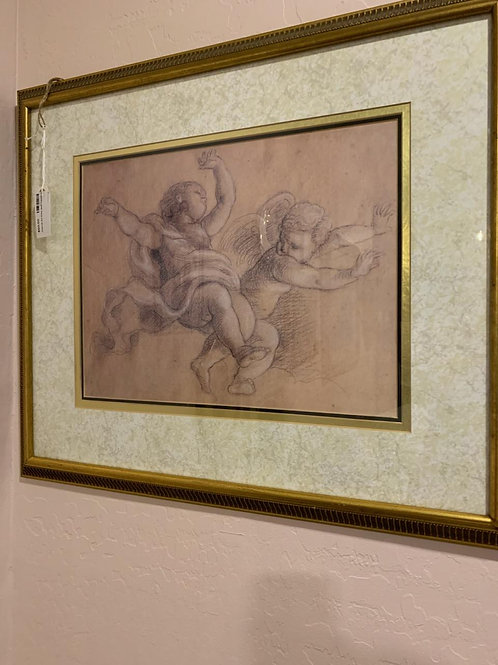 """Lovely Cherub etching with gold frame. 27""""W x 22"""""""