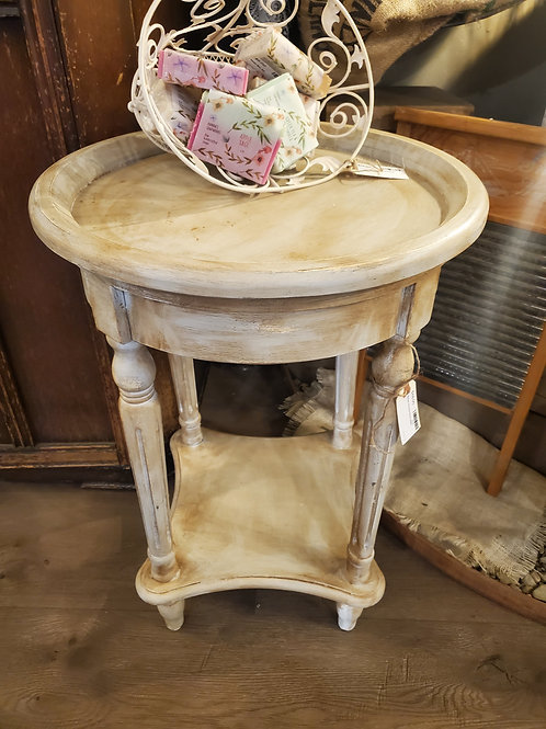 Beige Round End Table