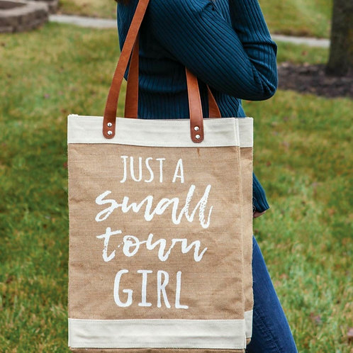 'Just A Small Town Girl' Burlap Bag