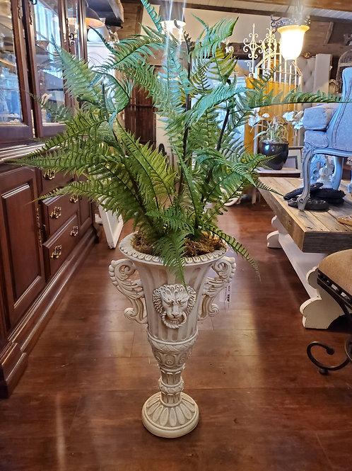 Large Lion Head Pot w/Faux Ferns