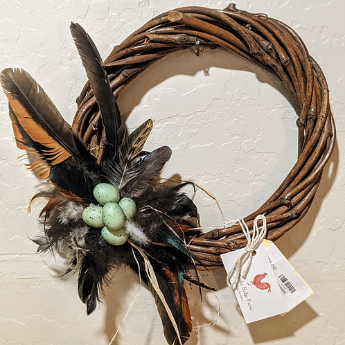 SALE**Local Made Feather & Egg Wreath