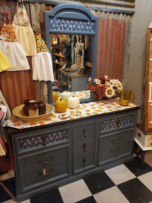 Blue Floral Dresser w/Mirror