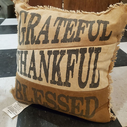 """Grateful, Thankful, Blessed"" Pillow 15"""