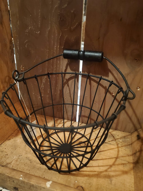 "Black Wire Egg Basket 6"" tall x 8"" wide"