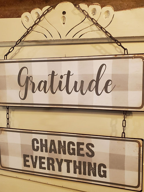 """Gratitude"" Metal Sign 15 1/2"" wide x 17 1/2"" tall"