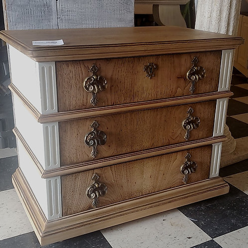 Beautiful 3 drawer side table 28.5 inches wide, 17 inches deep, 24 inches tall