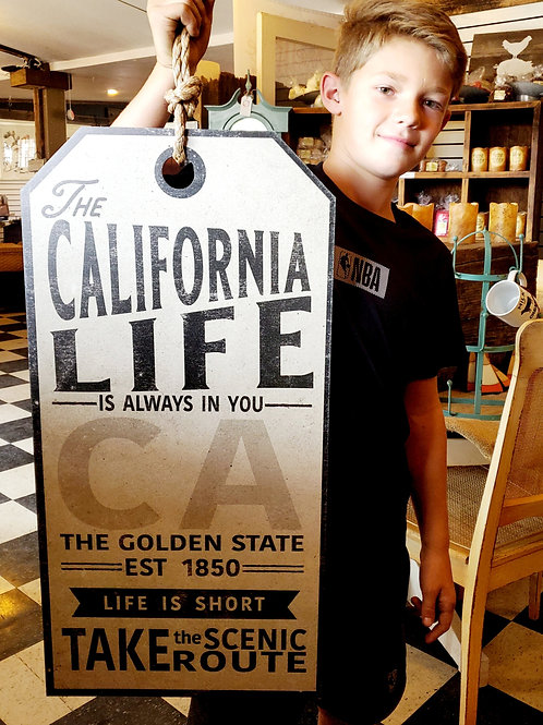 "'California Sign' 15"" wide x 30"" tall(plus rope hanger)"