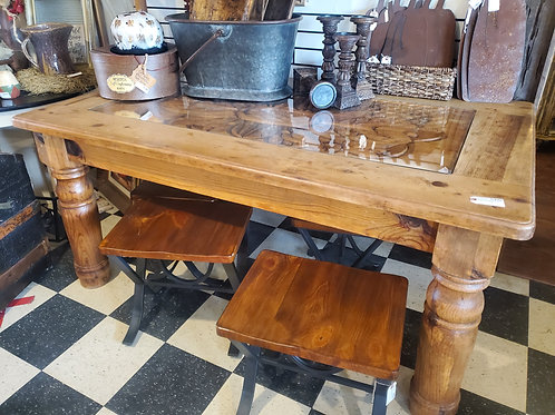 Carved Top Solid Wood Dining Table
