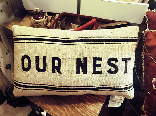 "Double Sided! ""Farmhouse""/""Our Nest"" Pillow 20x12"