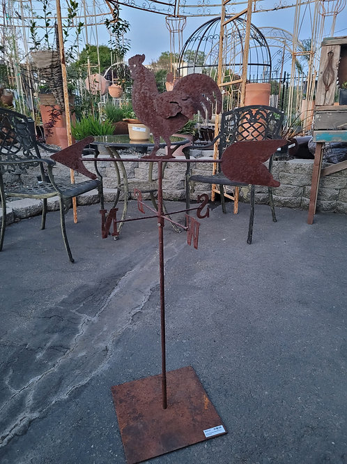 """Rusty 42"""" Rooster Weathervane On Stand"""