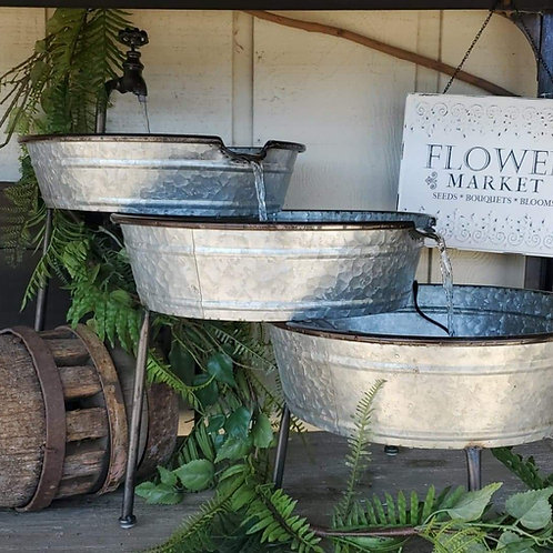Galvanized Three Tier Fountain - Pump included!