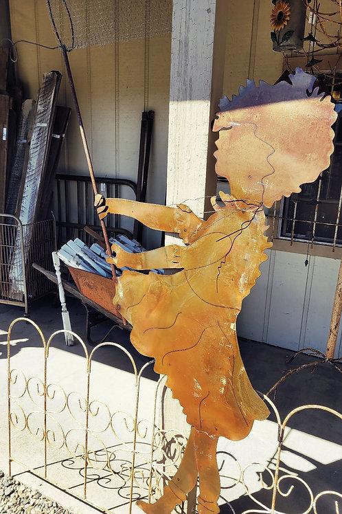 """69"""" Girl W/ Butterfly Net Garden Stake"""