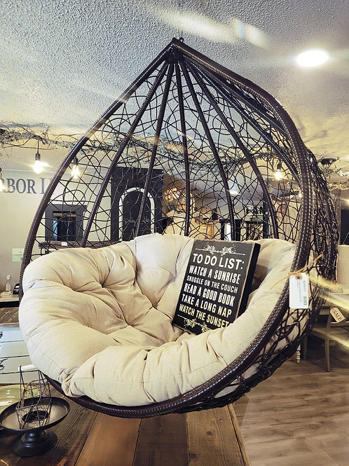 Large Hanging Chair W/ Cushion - Available with beige OR red cushion!