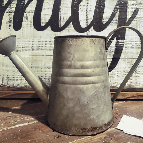 """Vintage Look Small Watering Can - 6 1/2"""" tall x 10"""" wide"""